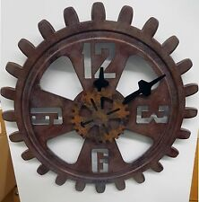 "BULOVA WALL CLOCK - INDUSTRIAL DESIGN- ANTIQUE FINISHED GEAR - ""MOTION"" C4373"