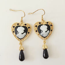 New Lady Cameo Vintage Style Black Heart Gold Plated Dangle Earring ER1484 Gift