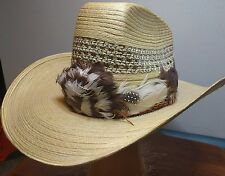 Straw Cow Boy Hat Chihuahua Rio Grande w extra Feathers rim Made in Mexico