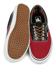 New Vans Mens 11 Era Leather Plaid Rhubarb Red Black Canvas Skate Sneakers Shoes