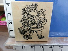 psx k-1356 Santa with children christmas tree  rubber stamps 33c