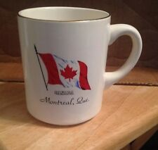 MONTREAL Quebec CANADA SOUVENIR COFFEE CUP WITH Flag MAPLE LEAF- 22K  GOLD