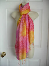 """Lucky Brand Scarf Wrap """"Live In Love"""" Pink Yellow Red 30""""x78"""" + Fringe Viscose"""