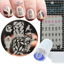 4pcs/set Feather Dreamcatcher Nail Art Set Manicure Stamp Plate Water Decals DIY