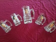 ELVIS PRESLEY GLASS PITCHER WITH SET OF 4 GLASS MUGS WITH PORTRAITS RARE!!!
