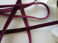 ruban élastique velours prune au mètre /9 mm