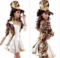 Ladies Sexy Deluxe Mad Hatter Tea Party Alice Wonderland Fancy Dress Costume