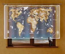 UNIQUE PAINTED CHILDREN PANEL NET CURTAIN - WHITE BEIGE WORLD MAP