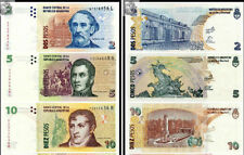 Argentina 2+5+10 Pesos 2010 -2012 issue set 3PCS BrandNew Babknotes