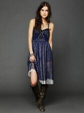 NWT $128 Free People Sequin Embellished Tulle Fairy Slip Dress Blue Silver XS