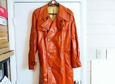 VINTAGE RETRO MENS THE 212 MAN'S SHOP / MARY SACKS LEATHER TRENCH COAT