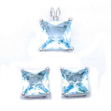 Princess Cut Aquamarine  .925 Sterling Silver Earring & Pendant Jewelry set