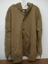NWOT Big Men's Thermal Lined Button Up Hoodie Jacket Size XL Light Brown #28