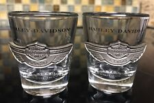 Harley-Davidson 100th Anniversary Glass and Pewter Shot Glasses Set of Two EUC