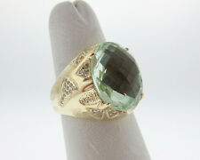 Natural 16x12mm Green Amethyst Diamonds Solid 14k Yellow Gold Cocktail Ring
