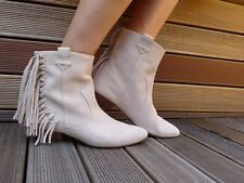 ZARA FLAT SUEDE LEATHER ECRU ANKLE BOOTS WITH FRINGE EUR 39/USA 8/UK 6