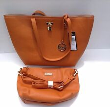 BCBG PARIS Orange/ Mustard Large Tote And Bonus Travel Bag Purse Retail $168