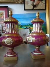 BEST OFFER!! PAIR ESTATE 19TH C SEVRES STYLE PINK & GOLD PORCELAIN LIDDED VASES