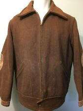 Vtg Wool Jacket Work Wear Coat Leather Zip 30s 40s 42 Mens Chore Delivery Farm L