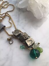 Anthropologie Gemstone Ladder Necklace Pyrite and Faceted Stones NWT