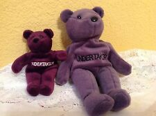 2 WWE WWF THE UNDERTAKER ATTITUDE BEARS WRESTLING PLUSH COLLECTIBLES