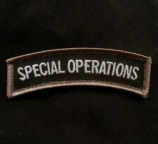 SPECIAL OPERATIONS TAB MORALE US ARMY TACTICAL ISAF BLACK OPS SWAT HOOK PATCH