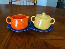 Vintage Individual Yellow Covered Sugar Red Creamer & Cobalt Tray Free Shipping