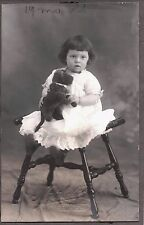 VINTAGE RPPC 1910 LOS ANGELES CALIFORNIA GIRL TOY STUFFED DOG OLD PHOTO POSTCARD