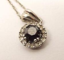 14K White Gold Diamond Cluster Pendant Necklace Black Diamond Center .25 Carat