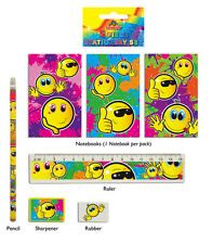 24 Smiley Face Stationery Sets:  Contents 5 pieces. Bulk Buy Pocket Money Toys