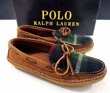 $450 Polo Ralph Lauren Aaric Rugged Suede Plaid Moccasins Leather USA Shoes 8.5