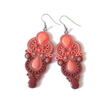 Bright Handmade Dangle Chandelier Long Peach Pink Salmon OOAK Earrings Jewelry