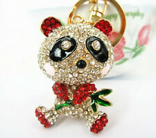 Bamboo Red Panda Cute Lovely Pendent Charm Crystal Purse Bag Key Ring Chain Gift