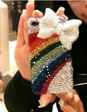 3D Handmade Diamond crystal Bling For iPhone 4 4s Case Cover rainbow bow NEW |52