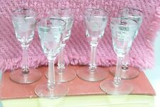 Etched leaf design set of 6 cordial glasses silver trimmed