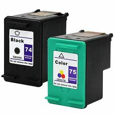 2PKs Hp 74 75 Ink PhotoSmart C4280 C4288 C4340 C4344 C4380 C5270 C5273 C5275