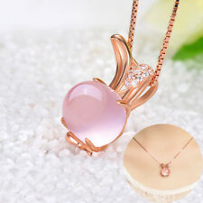 1Pc Cute Pink Natural Stone Rabbit Pendant Necklace Crystal Chain Women Jewelry