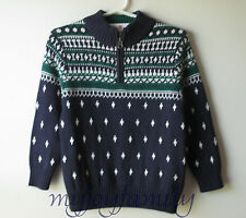 HANNA ANDERSSON And Snow It Goes Swedish Zip Sweater Navy Blue 120 6-7 NWT