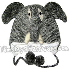 Knit Wool Elephant Ear Flap Hat: beanie winter animal trunk face adult youth