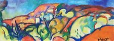 AGNES HART WPA Original Signed Large Fauvist Landscape Oil Painting - LISTED