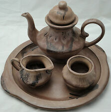 Blue Mountain Pottery 5 pc Mocha Glaze Teapot Cream Sugar Tray BMP Canada 1970s