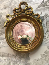 Antique Gold Small Ornate Round French Ribbon Style Bevelled Wall Mirror