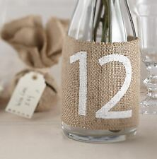 New Vintage Ginger Ray Rustic Hessian Burlap Wedding Table Number Wrap x 12