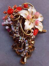 CORAL FLOWER GARDEN Brooch Pin STANLEY HAGLER Vintage SWAROVSKI Rhinestone