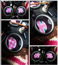Pink Union Jack Checkered Soft Silicone Cup Holder Coasters For MINI Cooper
