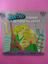 Vtg 80s BARBIE TRAVELS AROUND THE WORLD Record BOOK Kid Stuff Coloring 1981