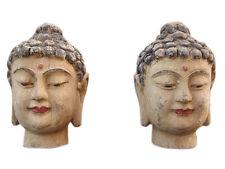 China 1920 2 x Mujeres Cabeza Retrato Escultura Árbol de campana azul dos a la