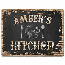 PP1970 AMBER'S KITCHEN Plate Chic Sign Home Room Kitchen Decor Birthday Gift