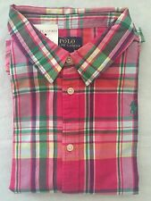 NEW Girl's Polo Ralph Lauren  SS Polo Plaid Shirt Pink Green White Large- 12