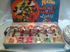 Rare Vintage Mazda Mickey Mouse Christmas Lights Decoration Set Boxed Working